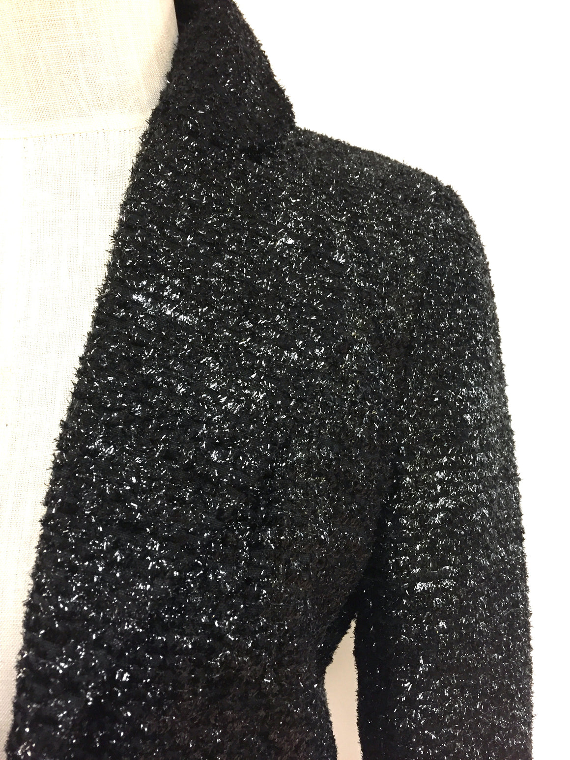 bisbiz.com DOUGLAS HANNANT   Black Metallic Tweed Cropped Bolero Jacket Size: 4 - Bis Luxury Resale
