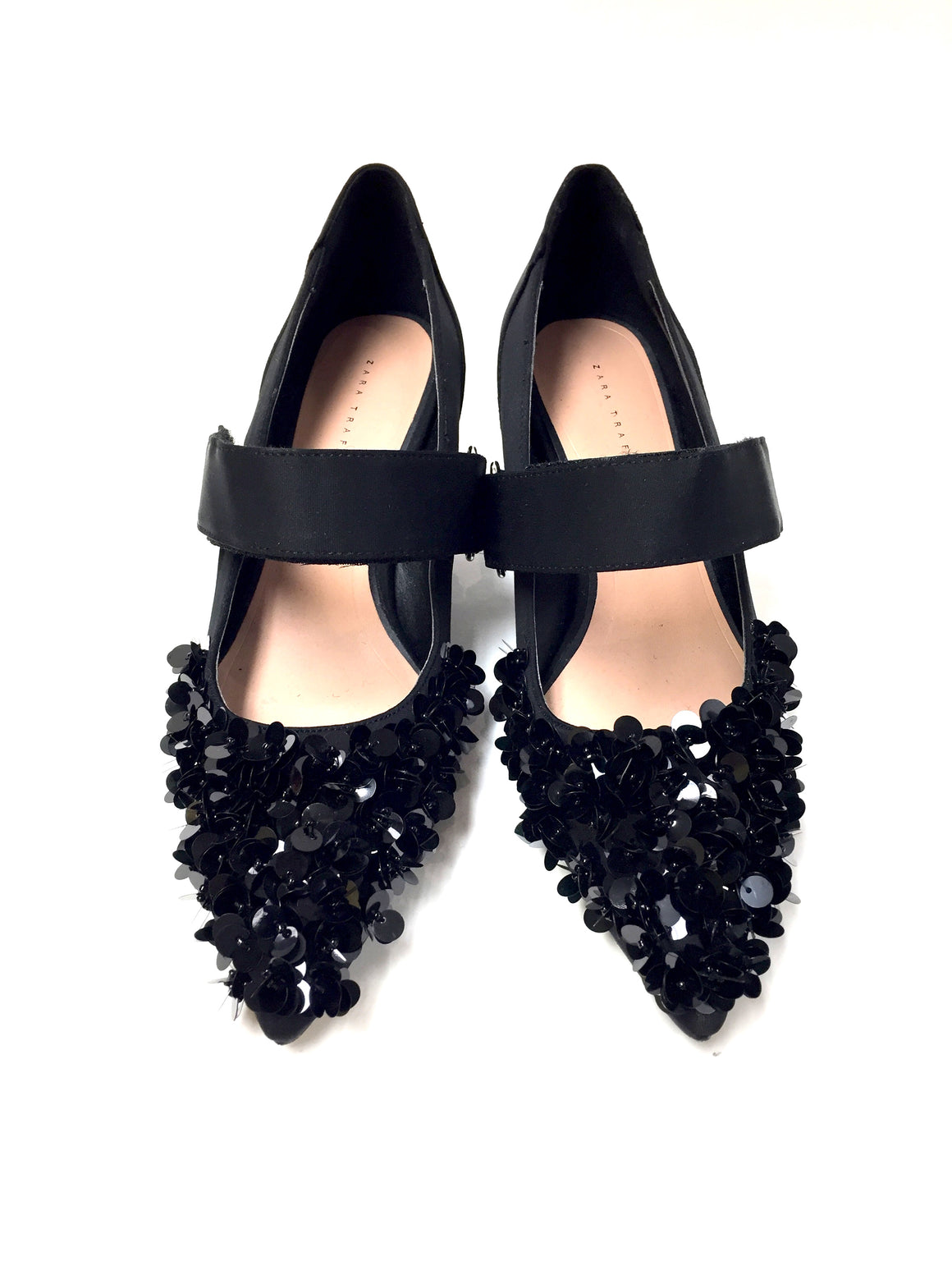 ZARA TRAFALUC Black Sequined Satin Canvas Kitten-Heel Mary Jane Pumps Shoes Size: EU 37 / 7