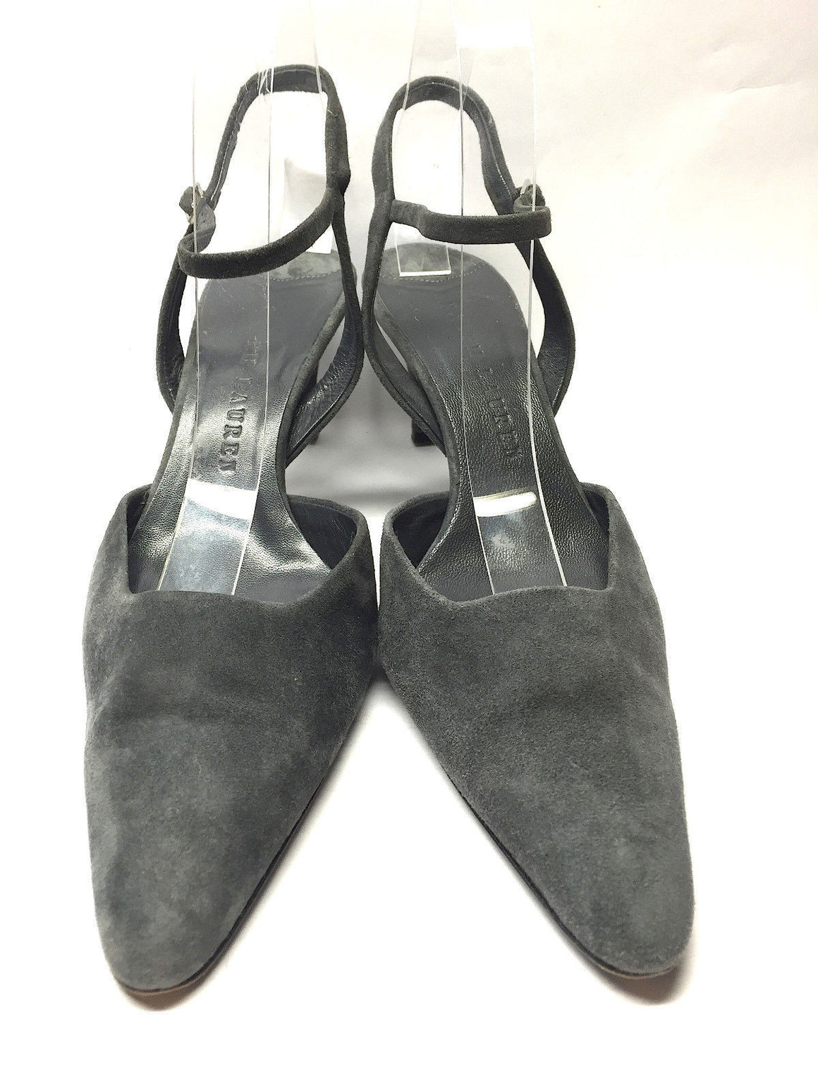 bisbiz.com RALPH LAUREN  Graphite-Gray Suede Ankle Strap  Heel Slingback Pumps Shoes  Size: 7 - Bis Luxury Resale