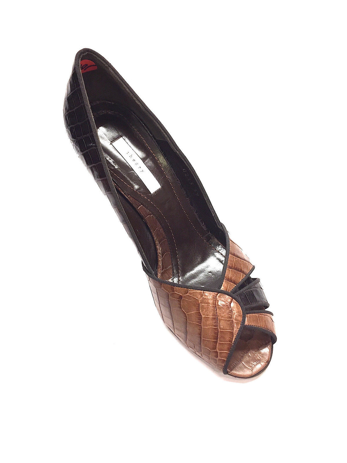 THEORY Brown / Tan Croc Skin Open-Toe Heel Pumps  Size: EU 39 / US 9