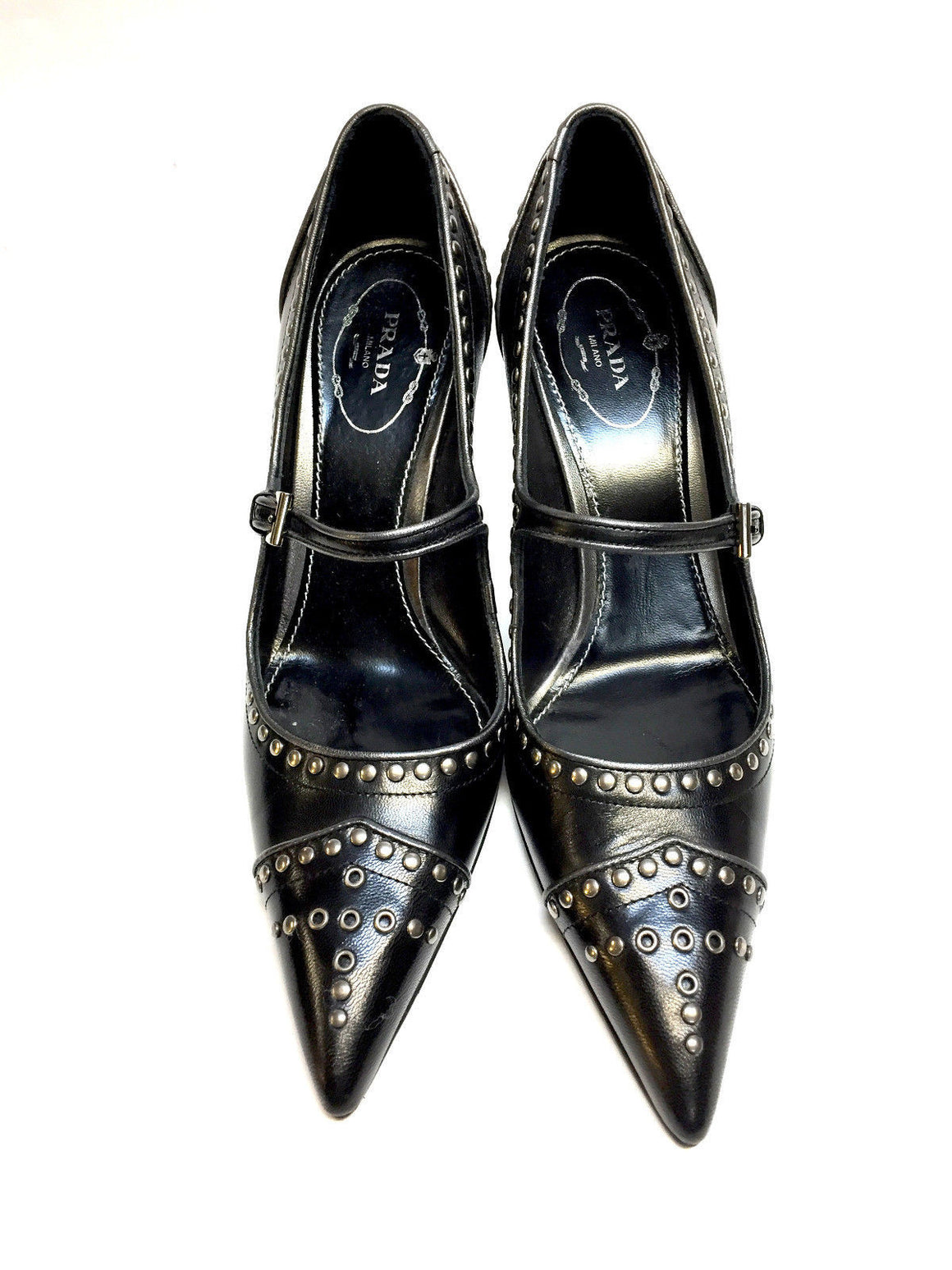 bisbiz.com PRADA Black Leather Gunmetal Studded Mary Jane Heel Pumps Shoes Size: 37.5 / 7.5 - Bis Luxury Resale