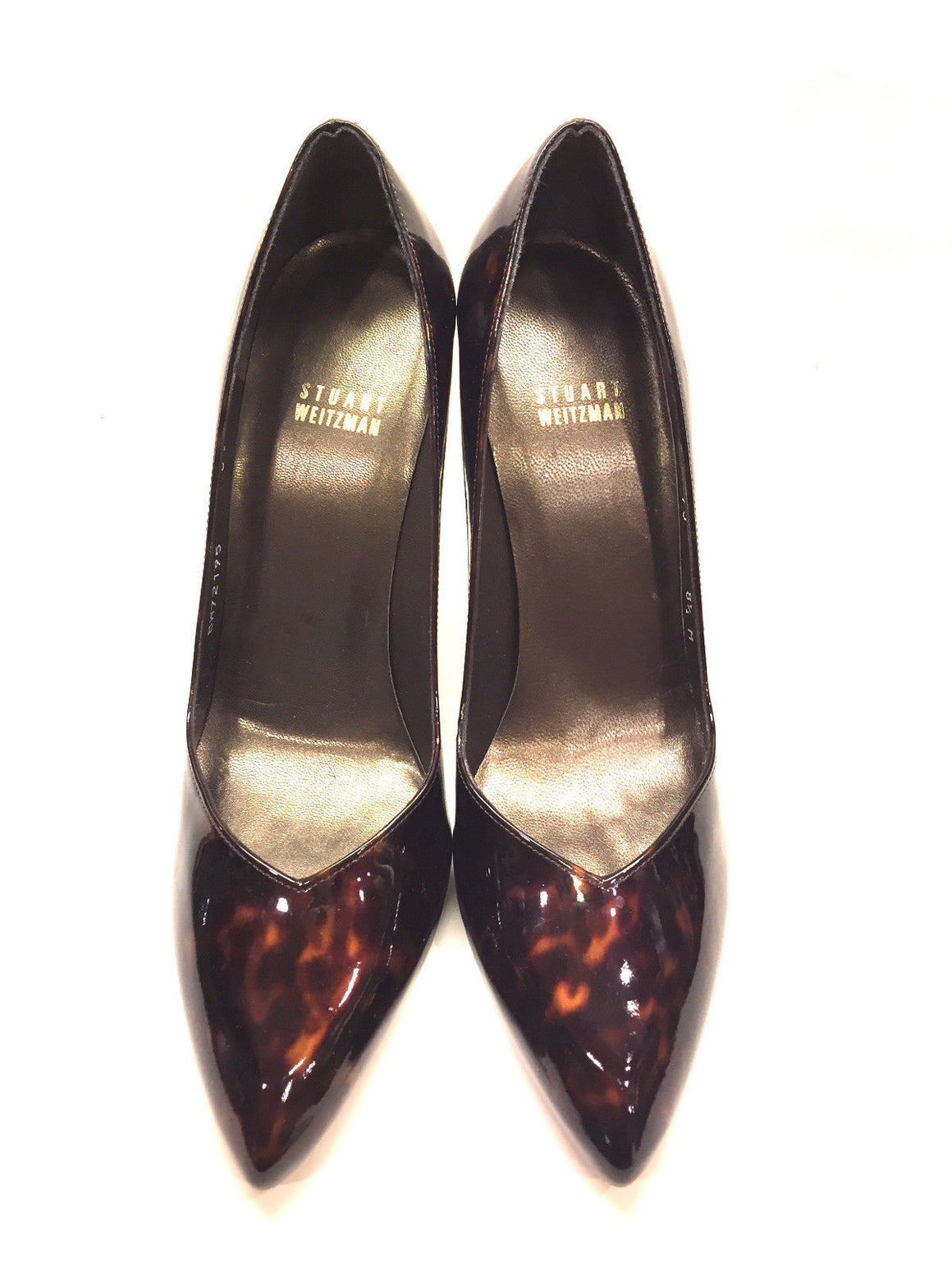 STUART WEITZMAN   Brown/Bronze Tortoise Patent Leather Hi-Heel Pumps Size:  8.5M