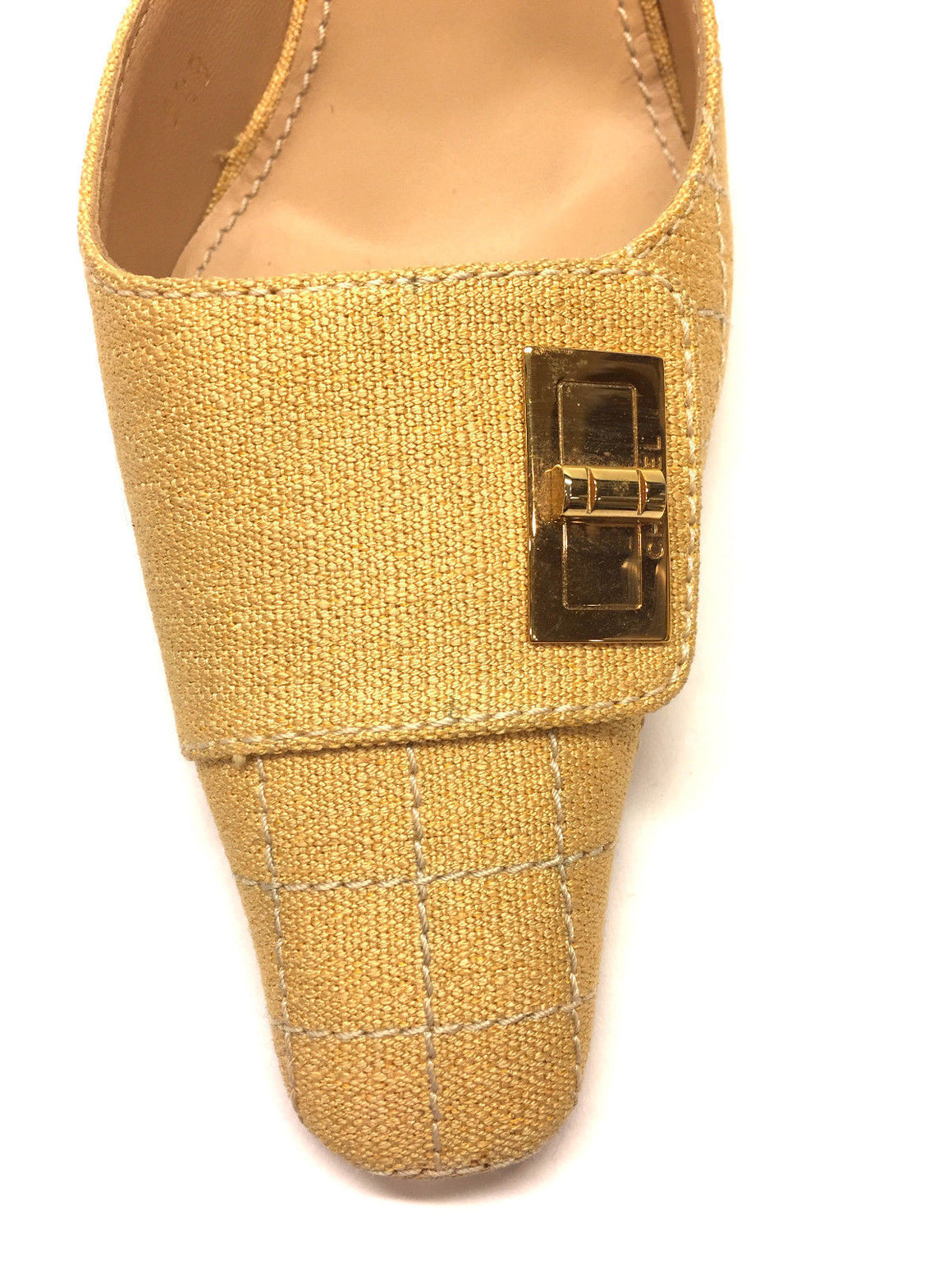 bisbiz.com CHANEL  Vintage  Yellow Quilt Patterned Canvas Gold Turn-Lock Heel Mules Sandals  Size: 9.5B - Bis Luxury Resale