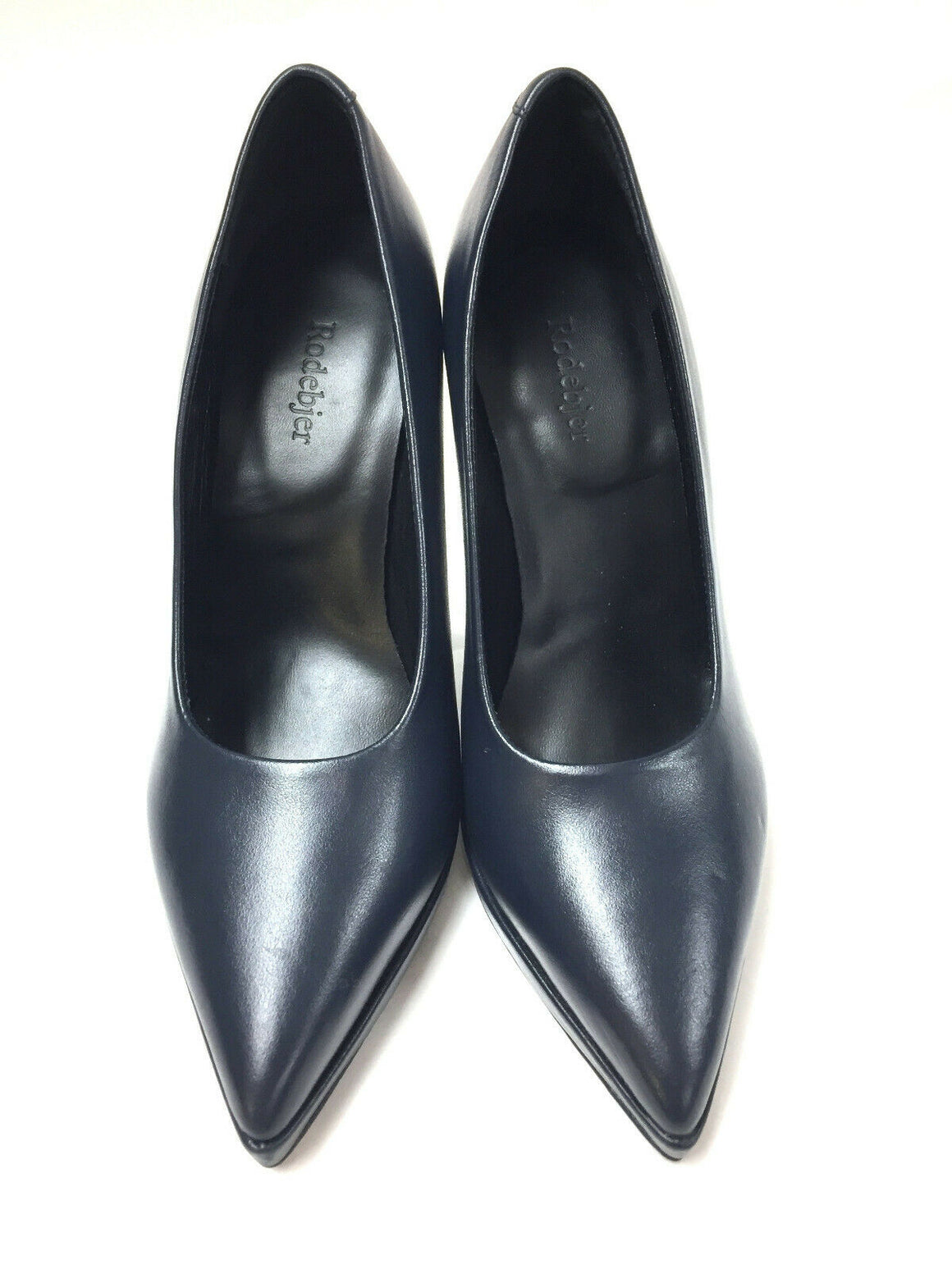 RODEBJER  Navy-Blue Leather Pointed-Toe Hi-Heel Pumps Shoes Size: 36 / 6