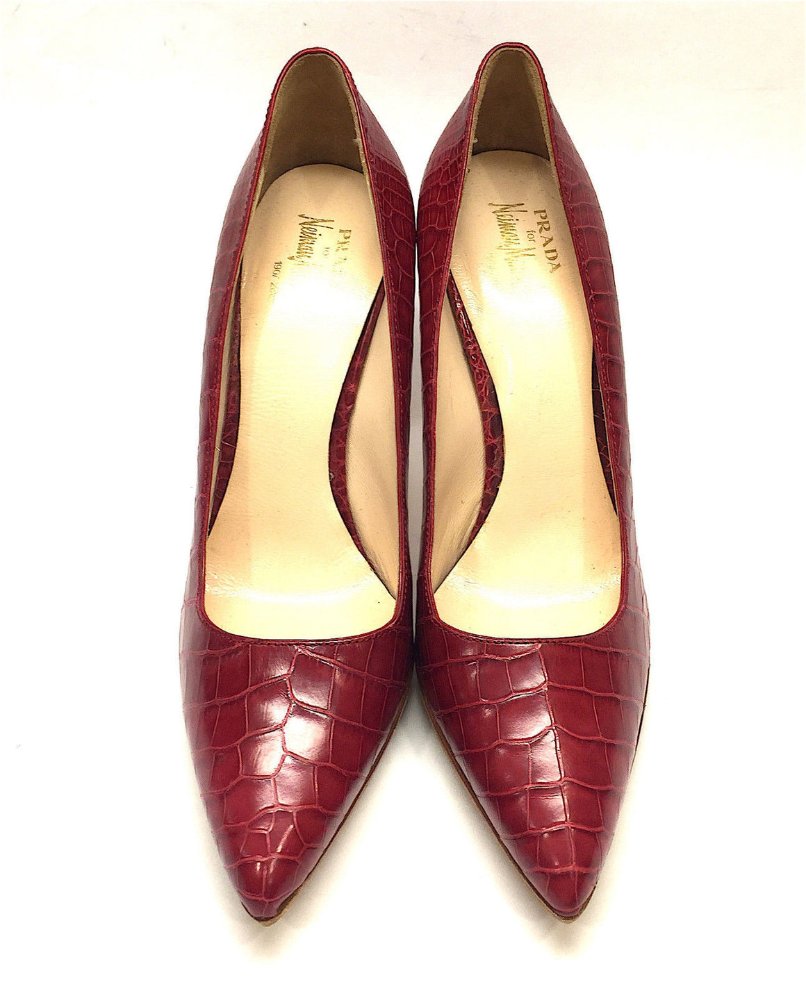 bisbiz.com PRADA  for  Neiman Marcus  Cherry-Red Croc-Skin Classic Heel Pumps Shoes  Size: 37 / 7 - Bis Luxury Resale