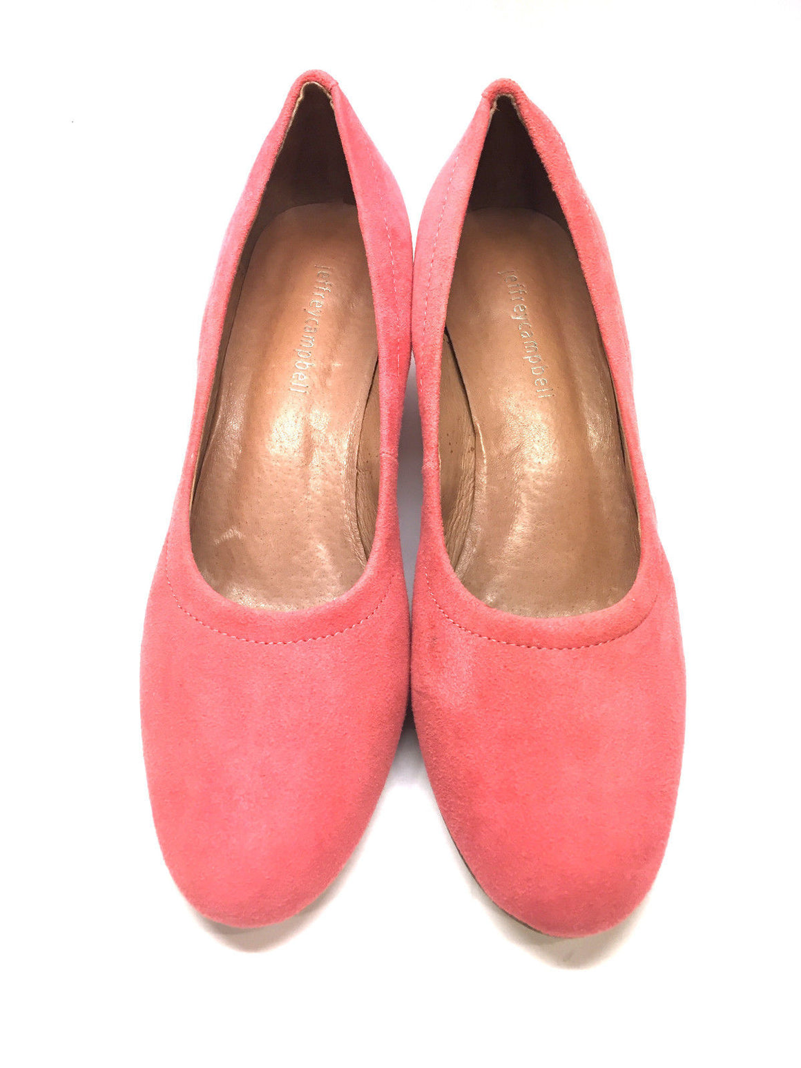 bisbiz.com JEFFREY CAMPBELL  Coral-Pink Suede Low-Heel Pumps  Size: 7.5 - Bis Luxury Resale