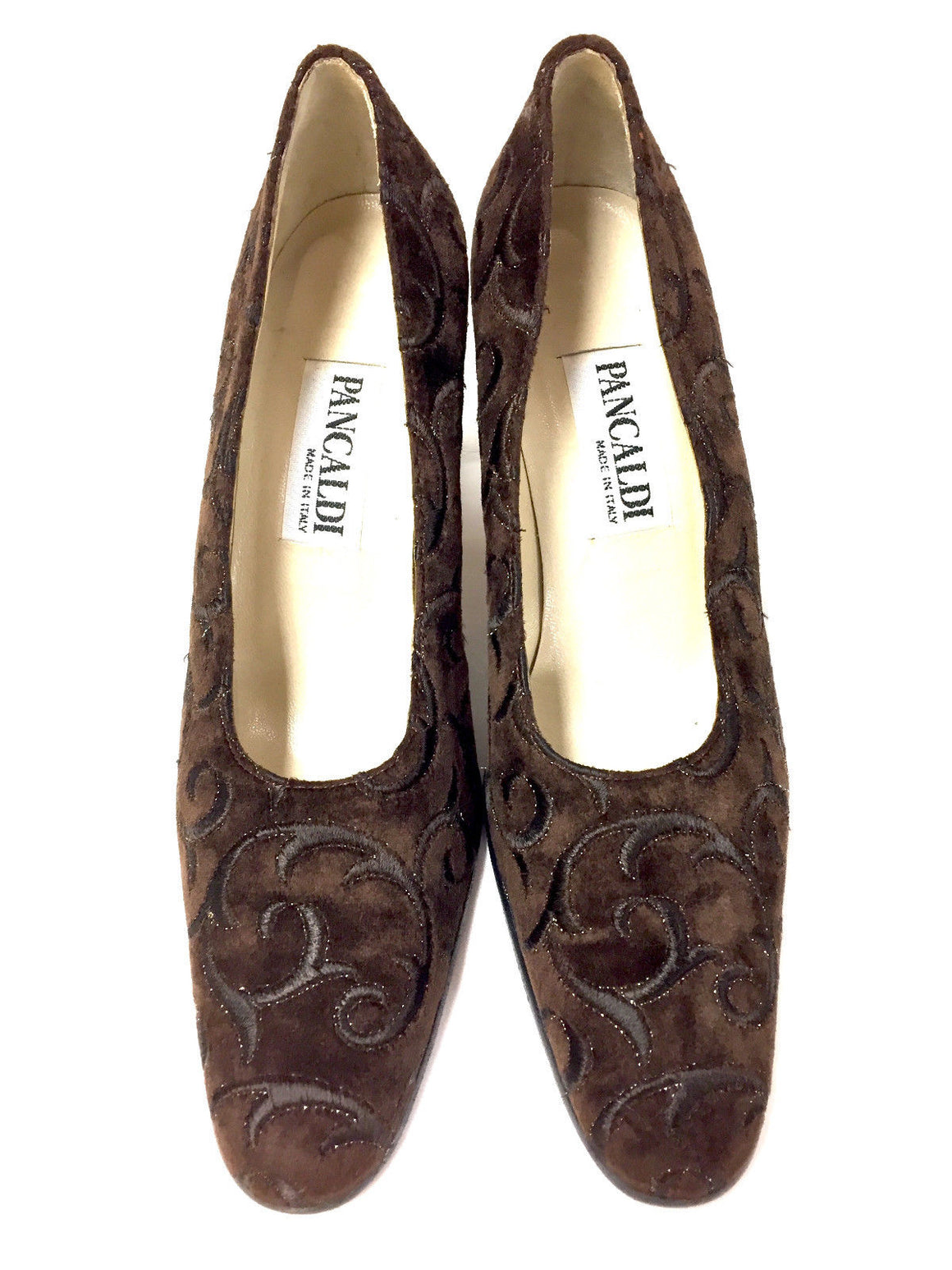 PANCALDI Brown Embroidered Velvet Gold Accent Heel Pumps  Size: 6.5