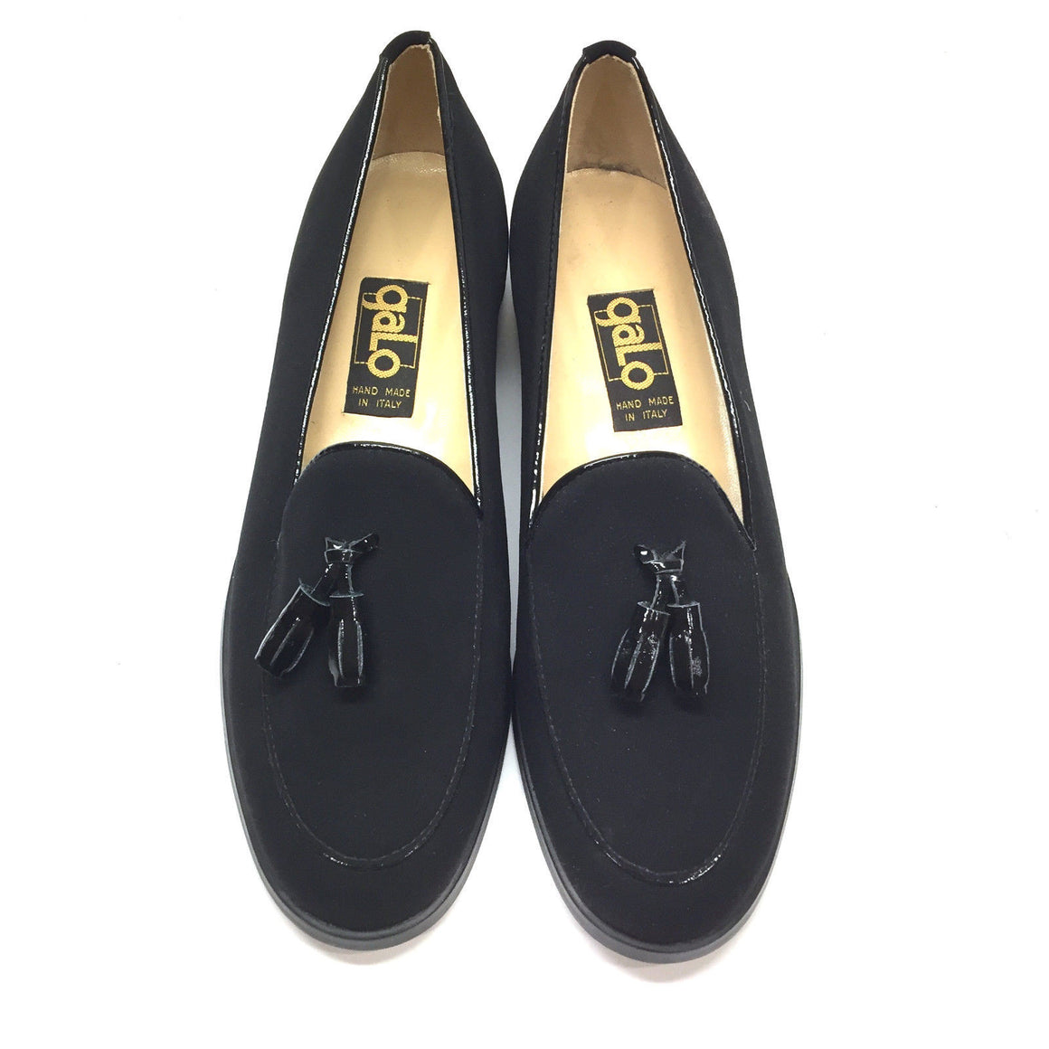 bisbiz.com GALO  Black Microfiber Patent Leather Tassel Loafers Flats Shoes  Size: 36.5/6.5 - Bis Luxury Resale