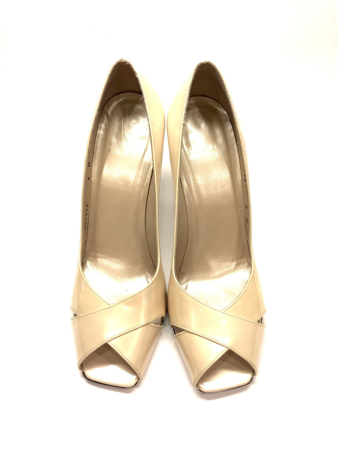 bisbiz.com STUART WEITZMAN Ivory Patent Leather Open-Toe Pumps | 9M - Bis Luxury Resale
