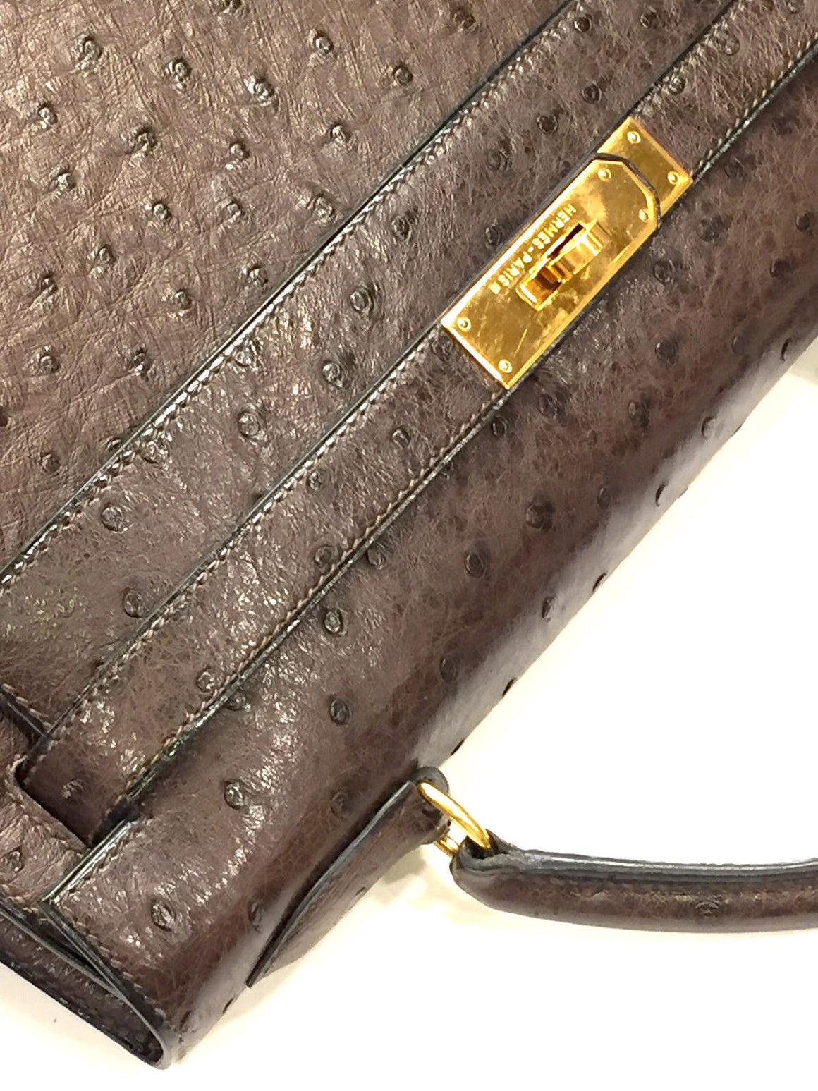 bisbiz.com HERMES Vintage - New Brown Ostrich Skin 32cm KELLY Bag & Accessories - Bis Luxury Resale