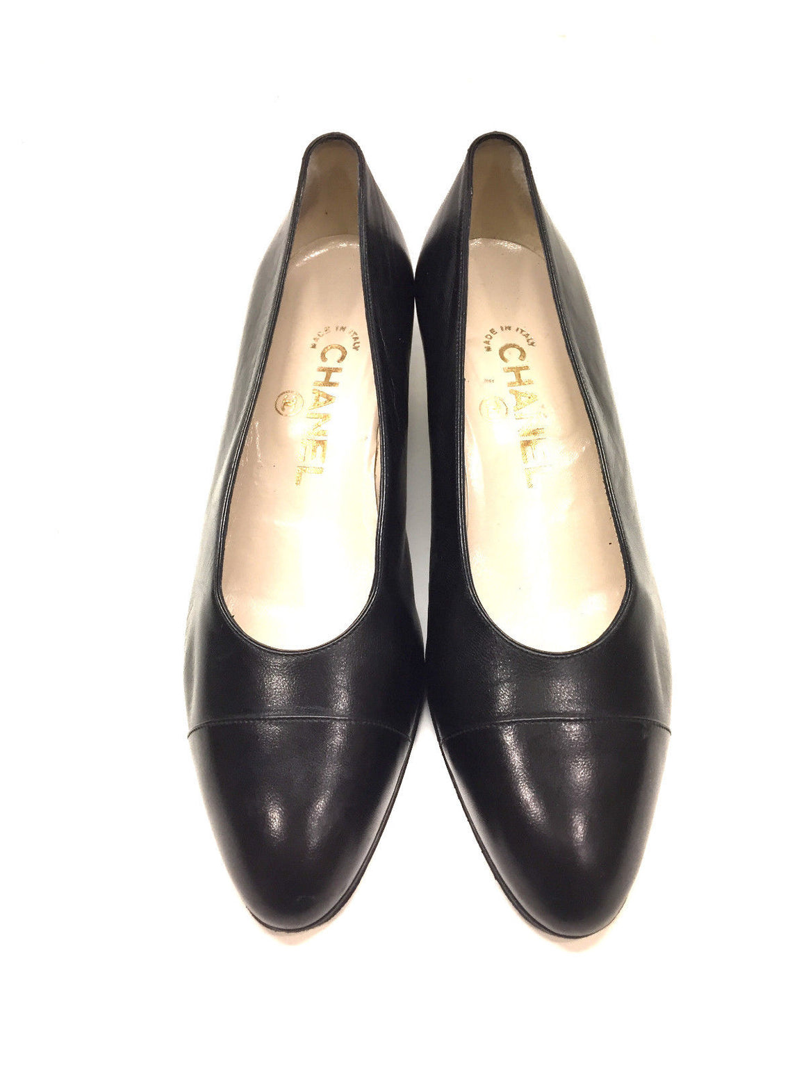 bisbiz.com CHANEL Vintage Black Leather Cap-Toe Chunky Kitten-Heel Pumps Size: 36.5 / 6.5 - Bis Luxury Resale