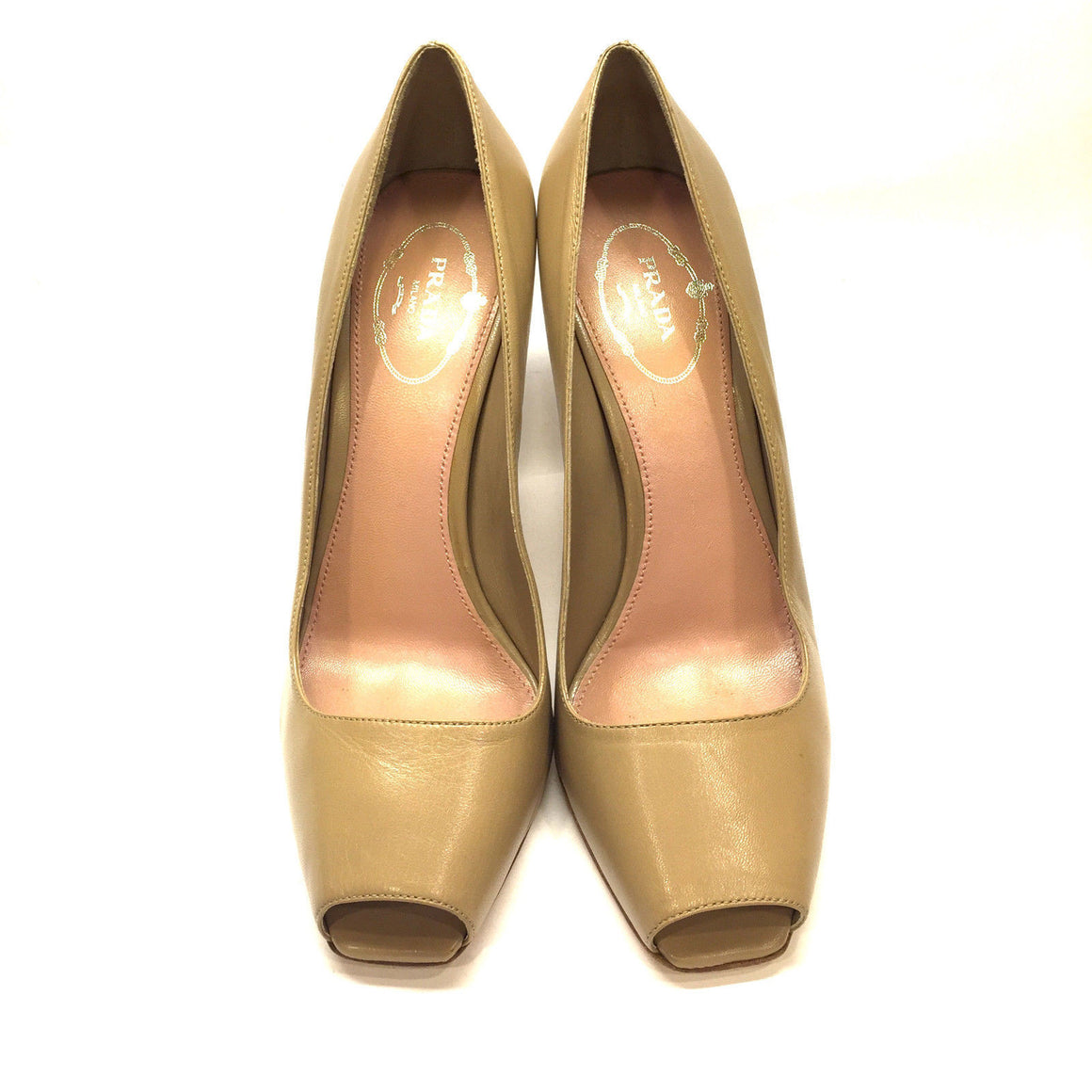 bisbiz.com PRADA  Beige Leather Peep-Toe Heel Pumps Shoes Size: 39 / 9 - Bis Luxury Resale