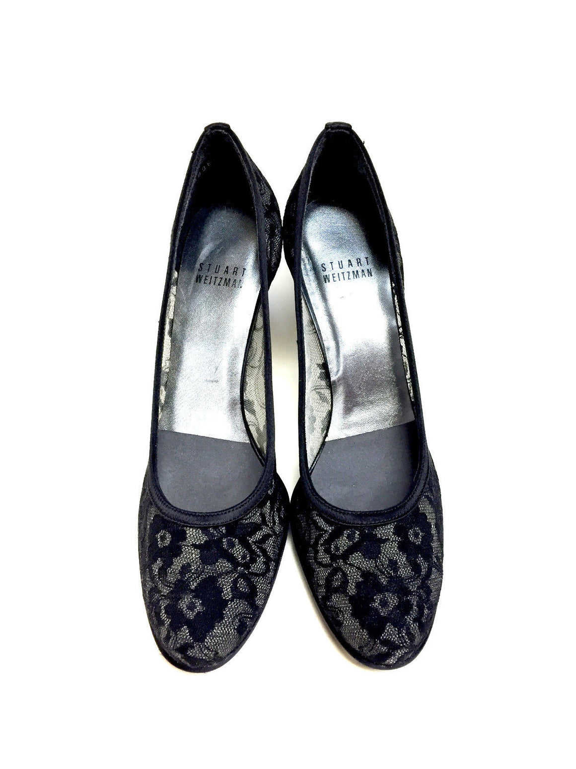 bisbiz.com STUART WEITZMAN  Black Lace Satin Platform LACESWOON Heel Pumps Shoes  Size: 7N - Bis Luxury Resale