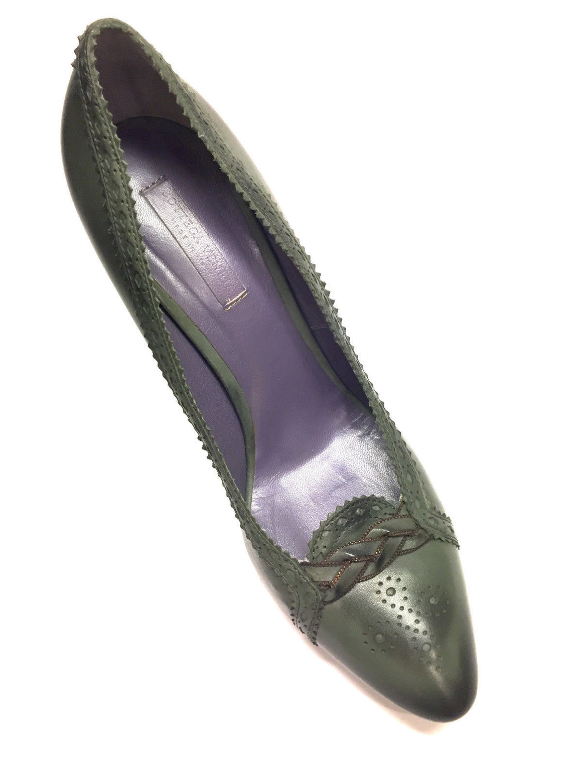 bisbiz.com BOTTEGA VENETA Green Marbled Leather Perforated Trim Heel Pumps Size: 39 / 9 - Bis Luxury Resale