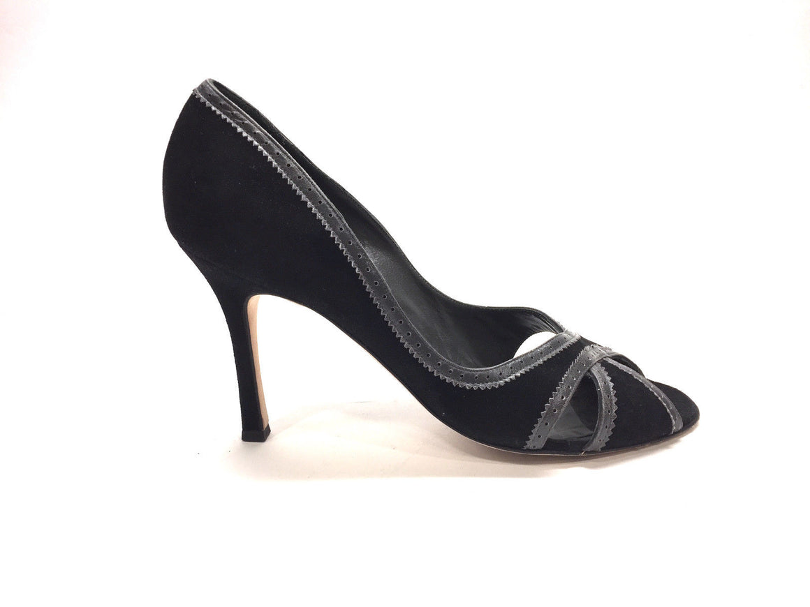 MANOLO BLAHNIK Black Suede Gray Leather Trim Peep-Toe Heel Pumps Size: 40 / 10