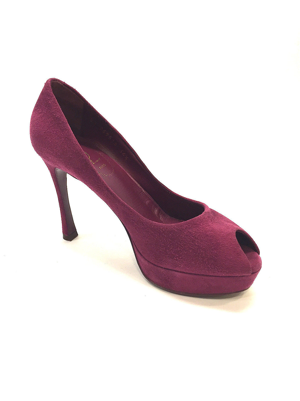 bisbiz.com YVES ST. LAURENT - YSL  Fuchsia Suede Peep-Toe Platform Heel Pumps Shoes  Size: 36.5 / 6.5 - Bis Luxury Resale