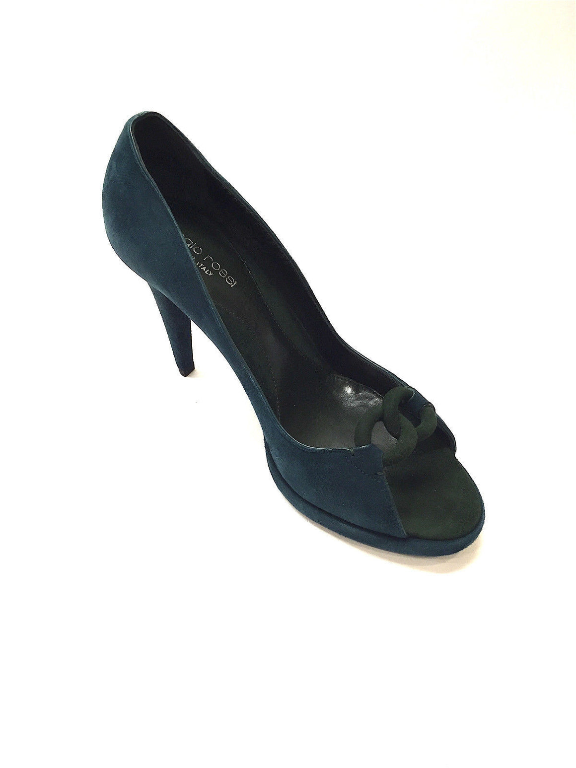 bisbiz.com SERGIO ROSSI  Teal-Green Suede Open Toe Link Detail Platform Heel Pumps  Size: 38 / 8 - Bis Luxury Resale