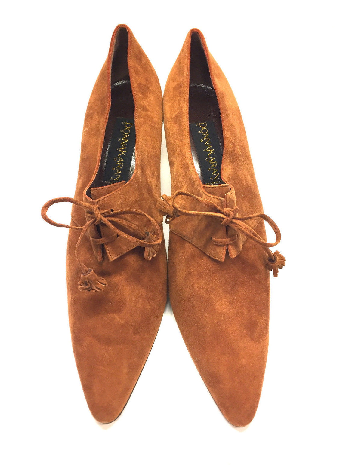 bisbiz.com DONNA KARAN Vintage New Honey Suede Pointed-Toe Lace-Up Heel Pumps Size: 11 - Bis Luxury Resale