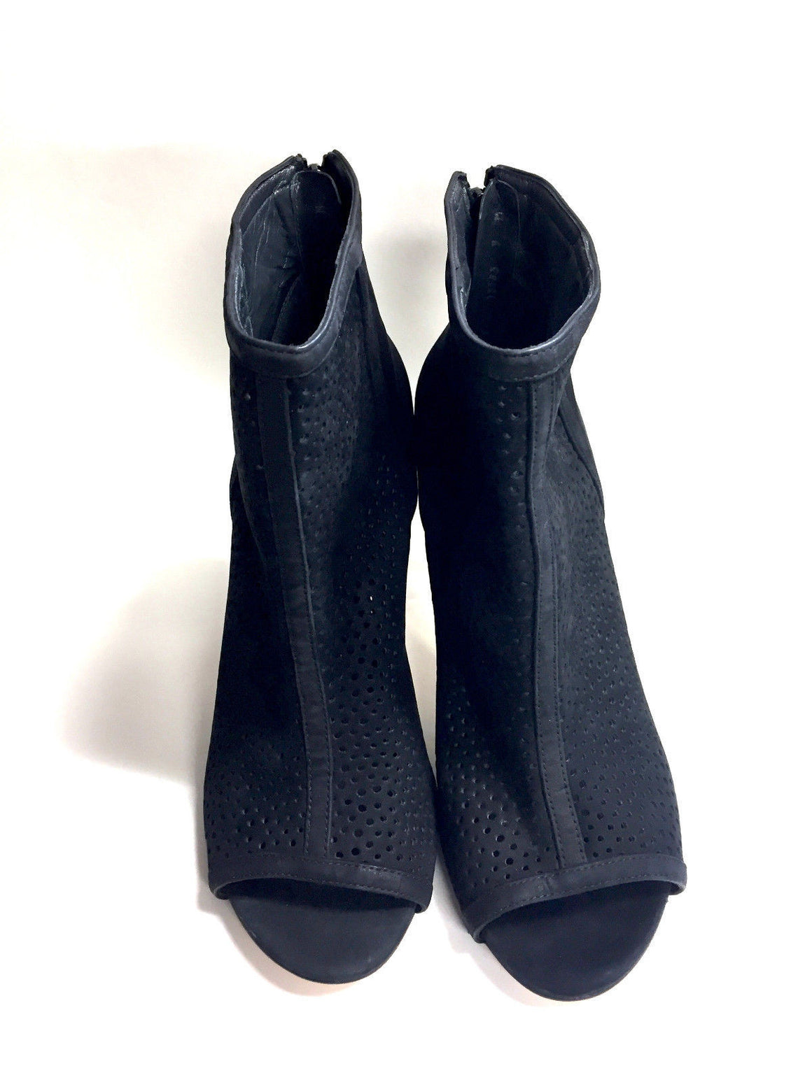 bisbiz.com STUART WEITZMAN  Black Suede Laser-Cut Vamps Open-Toe Hi-Heel Ankle Booties/Pumps Size: 9M - Bis Luxury Resale