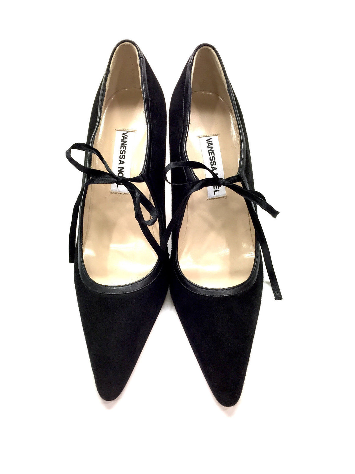 bisbiz.com VANESSA NOEL Black Suede Ribbon-Tie Mary Jane Heel Pumps Size: 37 / 7 - Bis Luxury Resale