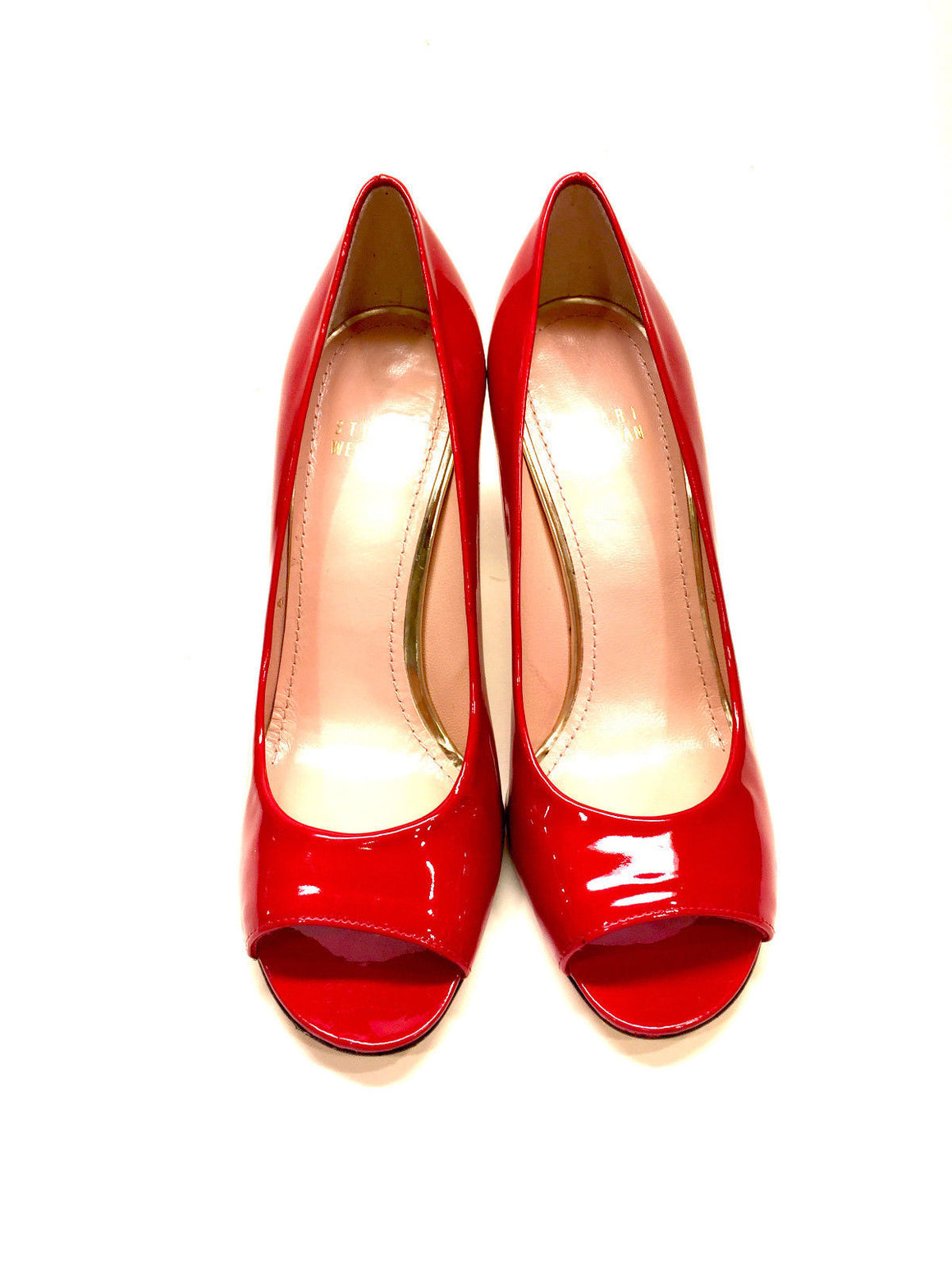 STUART WEITZMAN  Red Patent Leather Open-Toe Heel Pumps Shoes  Size: 7M