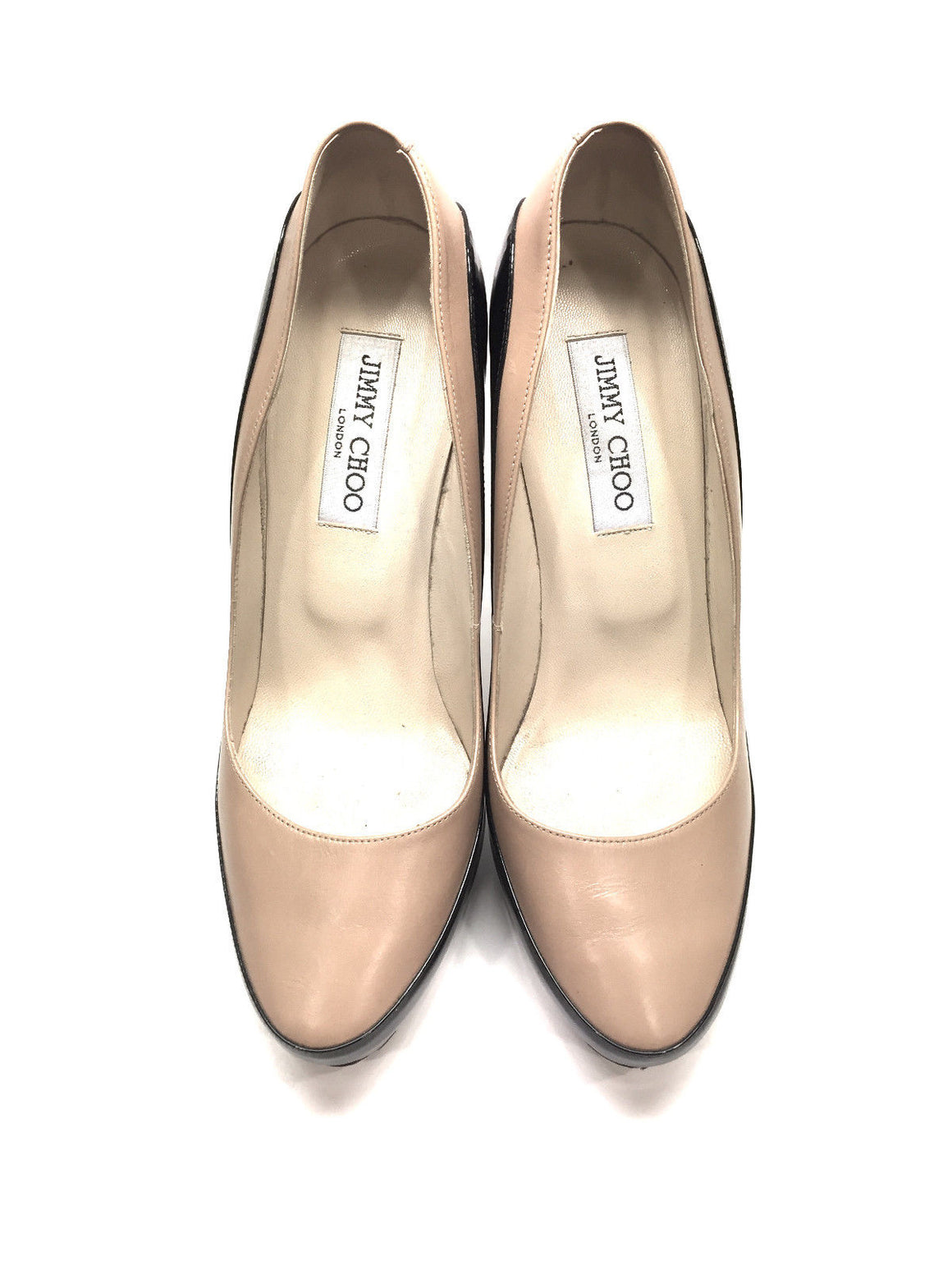 bisbiz.com JIMMY CHOO  Beige Leather/Black Patent Stiletto Heel Platform Pumps  Size: IT 39 / US8.5 - Bis Luxury Resale