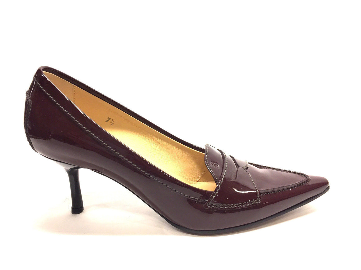 bisbiz.com TOD'S  Cordovan Patent Leather Pointed-Toe Penny Loafer Heel Pumps  Size: 7.5 - Bis Luxury Resale