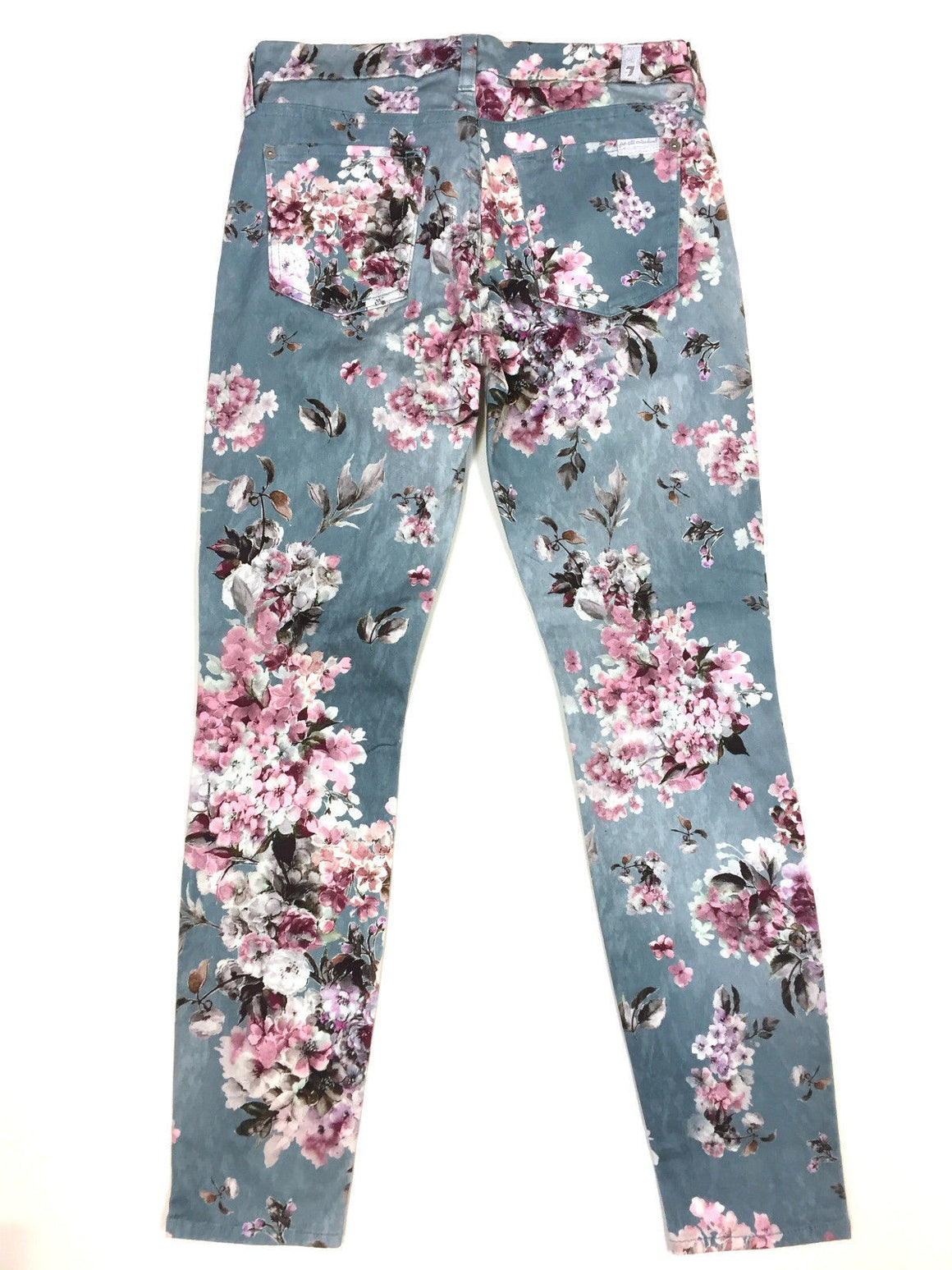 bisbiz.com SEVEN FOR ALL MANKIND Aqua-Blue/Multicolor Floral-Print Skinny Jeans Size: 27 / 4/6 - Bis Luxury Resale