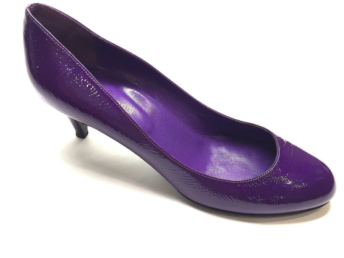 bisbiz.com SERGIO ROSSI Purple Crinkled Patent Leather Kitten-Heel Ballet Pumps Shoes 37.5 - Bis Luxury Resale