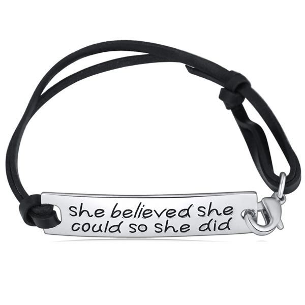 She Believed She Could So She Did Hand Stamped Bracelet - Florence Scovel - 1