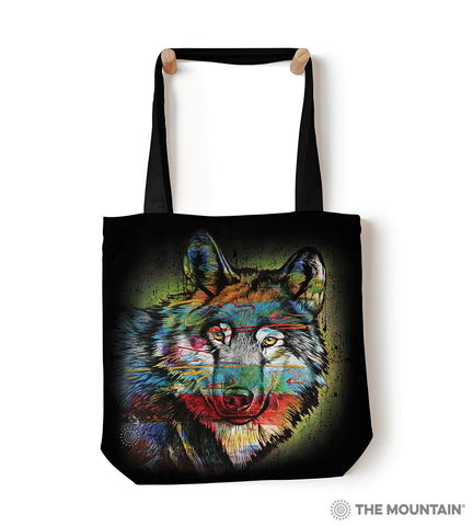 "6320 Painted Wolf 18"" Tote Bag"