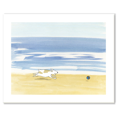 Dog Running on Beach Print