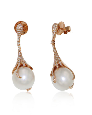 Elegant Gemstone Earrings, Diamond, South Sea Pearls