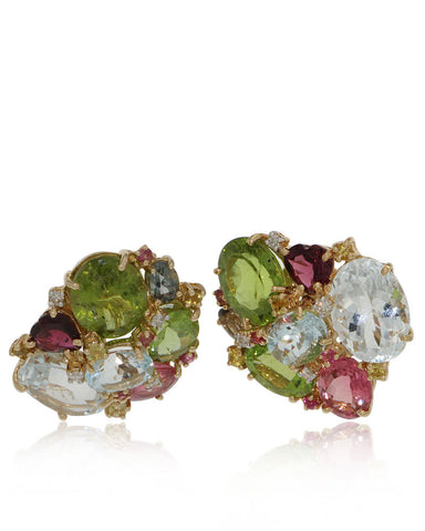 Gold Earrings, Gemstone Earrings, Aquamarines, Diamonds, Periot, Tourmaline