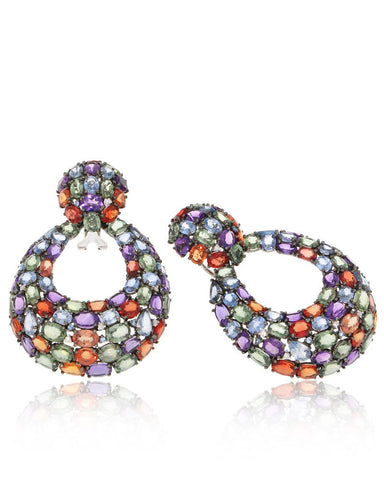 Multicolor, Gemstone Earrings, Sapphires, Diamonds