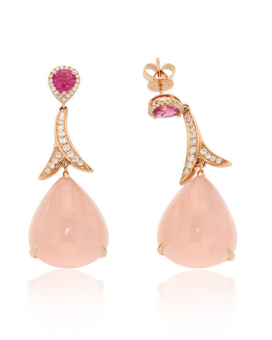 Gold Earrings, Rose Quartz, Gemstone Earrings, Diamonds, Rubies