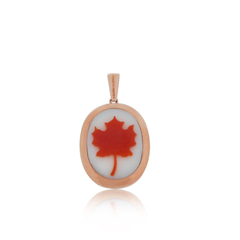 Canada Day Jewellery, Yellow Gold, Canada Maple Leaf, Cameo Pendant, Unique, for women