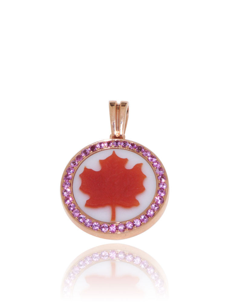Canada Day Jewellery, Rose Gold, Canada Maple Leaf, Cameo Pendant, Pink Sapphires, Unique, for women