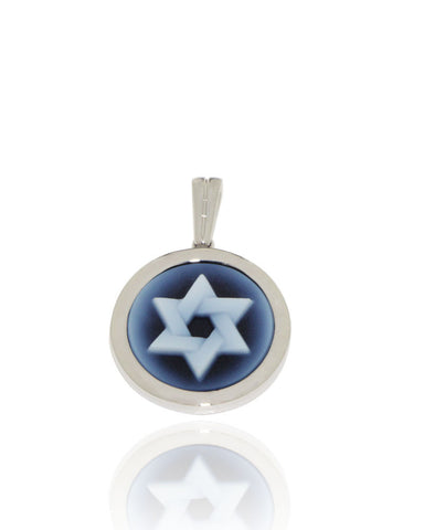 White Gold, Cameo Pendant, Star of David, for women, unique