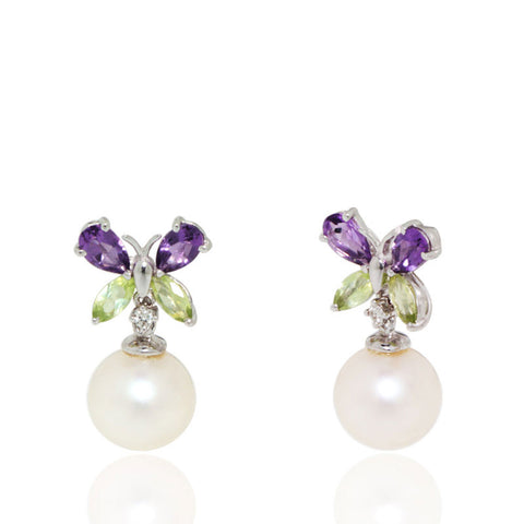 White Gold Earrings, Freshwater Pearls, Amethyst, Peridot, Diamonds, Butterfly Earrings, Unique, for women