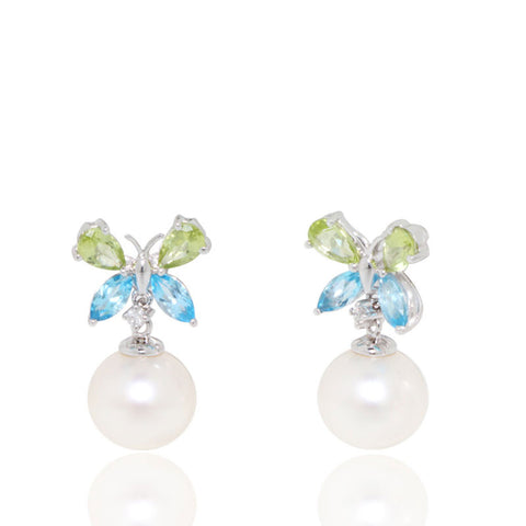White Gold Earrings, Diamonds, Butterfly Earrings, Peridot, Blue Topaz, Pearl Earrings, Unique, for women
