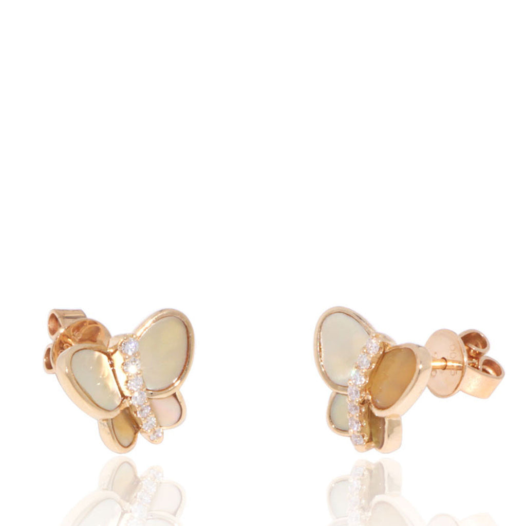 Yellow Gold Earrings, Diamonds, Mother of Pearl, Butterfly, Unique, for women