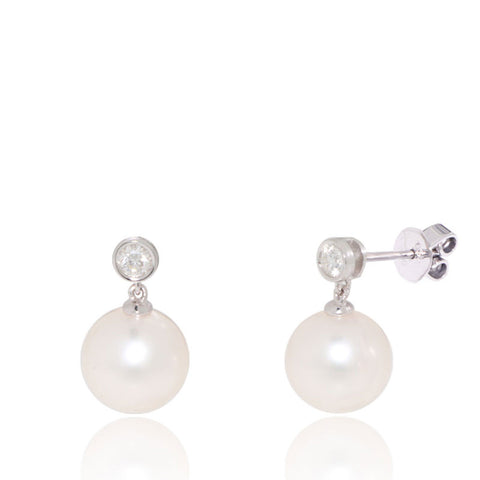 White Gold Earrings, Diamonds, Freshwater Pearl, Dangling, Unique, for women
