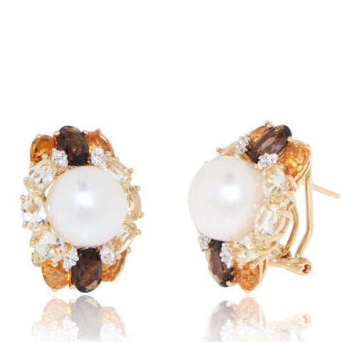 Yellow Gold Earrings, Diamonds, Freshwater pearl, Lemon Quartz, Citrine, for women, Unique
