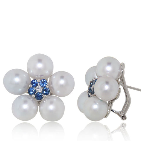 Pearl Earrings, White gold, blue sapphires, unique earrings, flower design