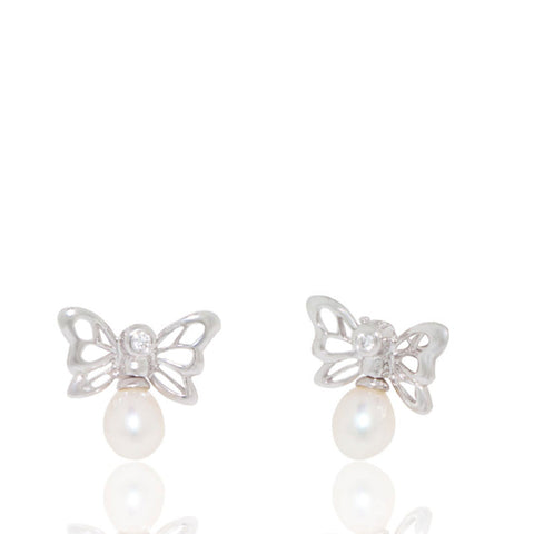 White Gold Earrings, Pearl Earrings, Butterfly Earrings, Unique, for women, diamonds