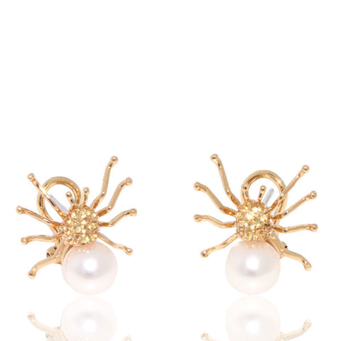 Yellow Gold Earrings, Yellow Sapphires, Pearl Earrings, Spider, Unique, for women