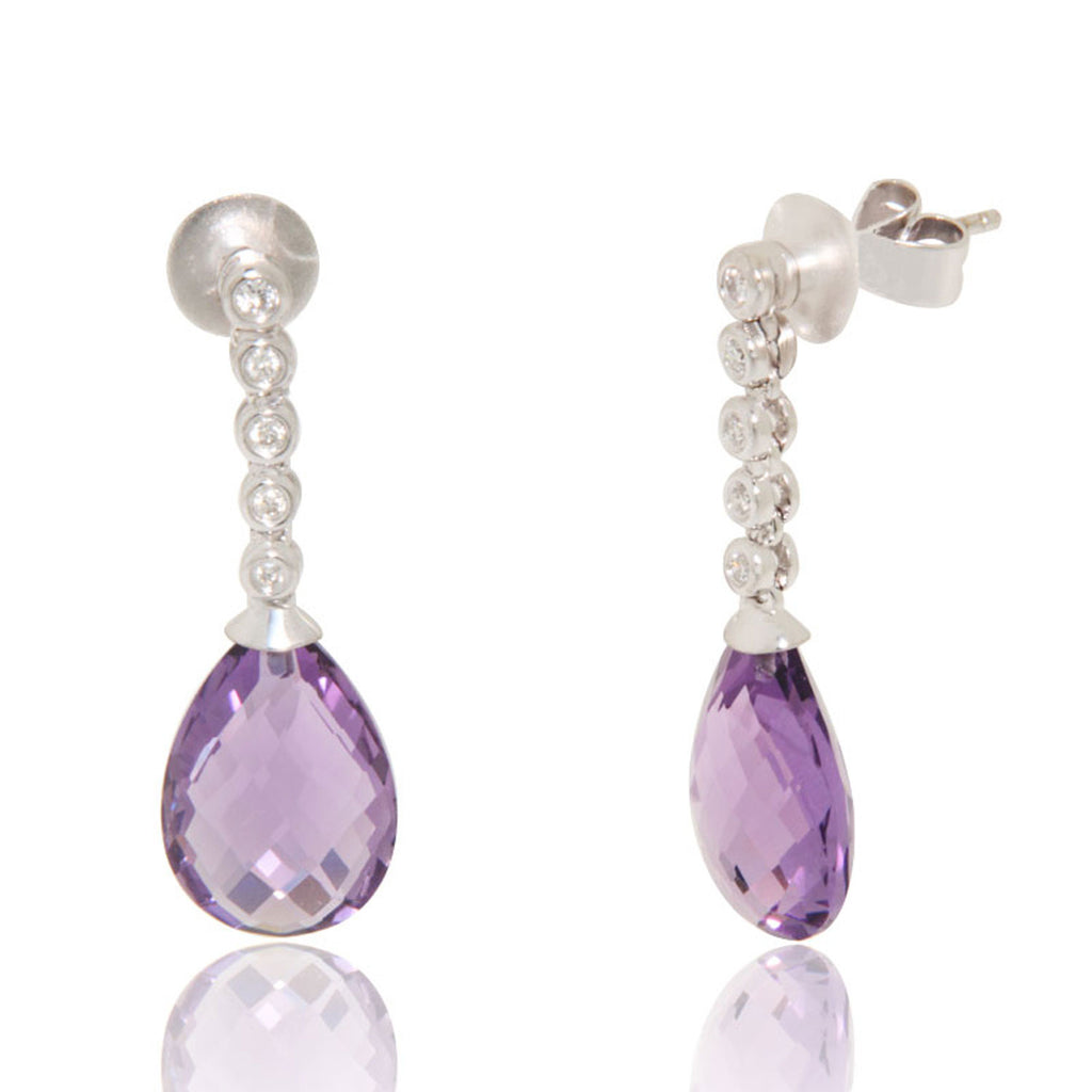 Amethyst, dangling diamonds, earrings, Unique, for women, Gemstone, White gold earrings