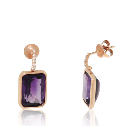 Rose Gold Earrings, Dangling Earrings, Diamonds, Amethyst, Gemstone, Unique, for women