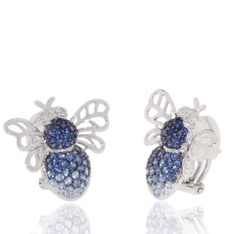White Gold Earrings, Bee, Diamonds, Blue Sapphires, Gemstones, Unique, for women